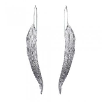 eine große Auswahl an Modellen beliebte Marke neue Sachen Blatt Ohrringe, lang, matt, silber