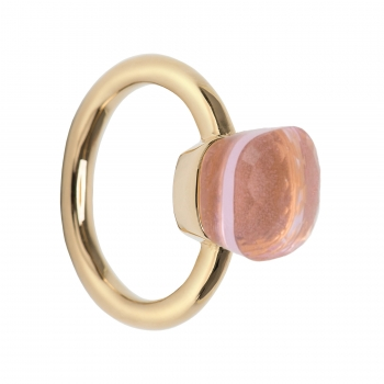 les bobos Ring mit Quarz, rosa, transparent