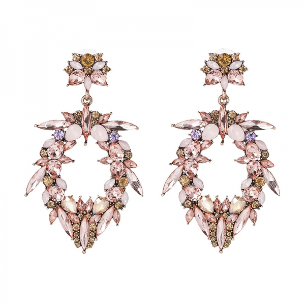 Ohrringe Chandelier Statement rosa floral